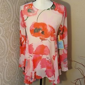 CeCe Pink Red Roses Shark Bite Blouse Size XX
